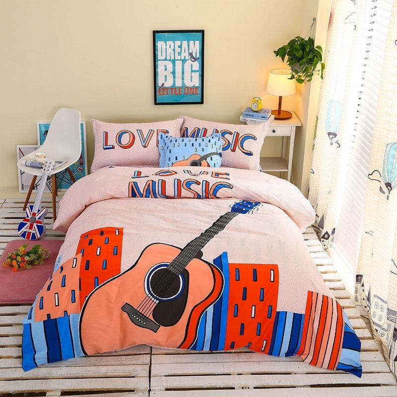 Orange Blue And Pale Pink Guitar Print City Chic Rock Street Music Themed Hipster Style 100 Cotton Twin Full Size Bedding Sets