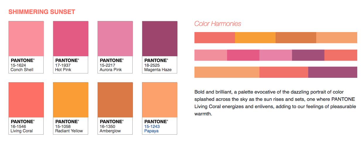 pin by michelle booth on cmyk rgb sunset color palette pantone coral colour 138c purple colors
