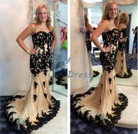 free shipping Floor-Length sweetheart black lace prom dresses