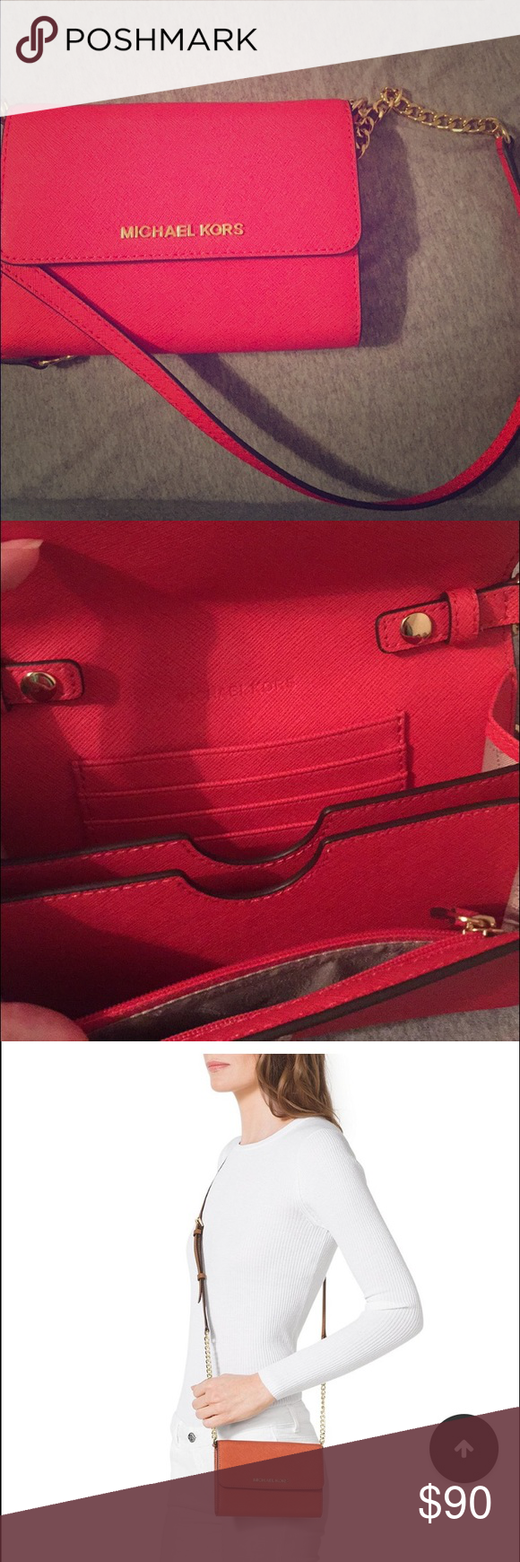 Michael Kors Jet Set Travel Phone Cross-Body Bag Brand new without tags. 100% authentic Michael Kors. Red color. Beautiful bag Michael Kors Bags Crossbody Bags