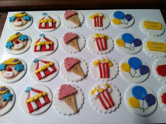 Edible, Fondant Carnival / Circus Cupcake Toppers