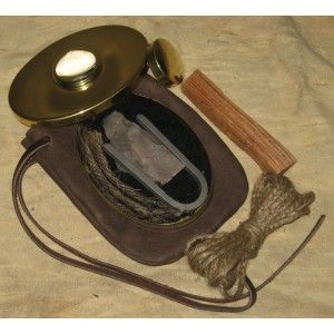 Flint And Steel Kit With Brass Tobacco Tin And Magnifying
