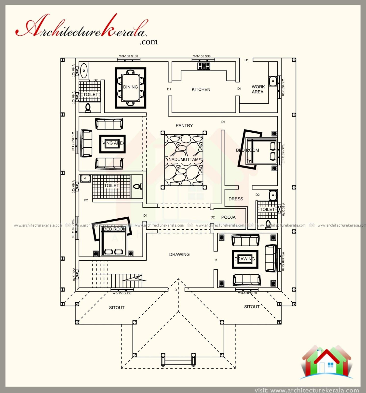 Traditional Kerala Style House Plan With Two Elevations