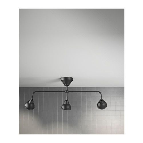 Bathroom Lighting Fixtures Black vitemÖlla triple ceiling spotlight, black metal - $59.99 | ikea