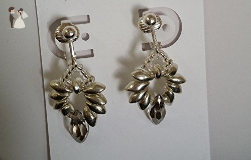 Silver Pharaohs - clip earrings, with Crystal briolettes, silver plated & magatama beads - Wedding earings (*Amazon Partner-Link)
