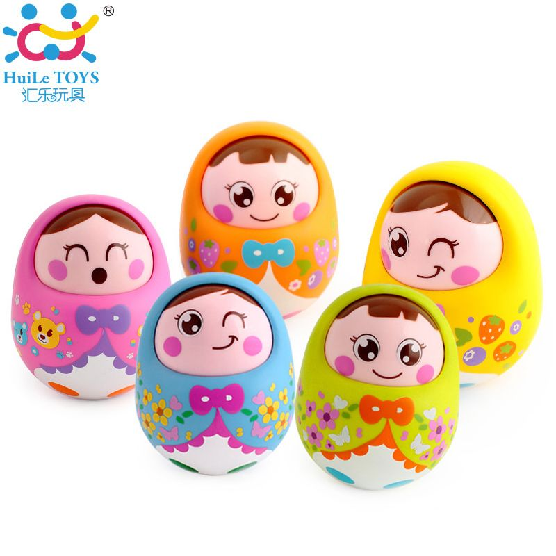 (Set of 2) Kids Musical Nevalyashka Tumbler Toy Infant Cartoon Doll Roly-poly Tumbler Baby Toy with Sound Children 1-3 Year Old
