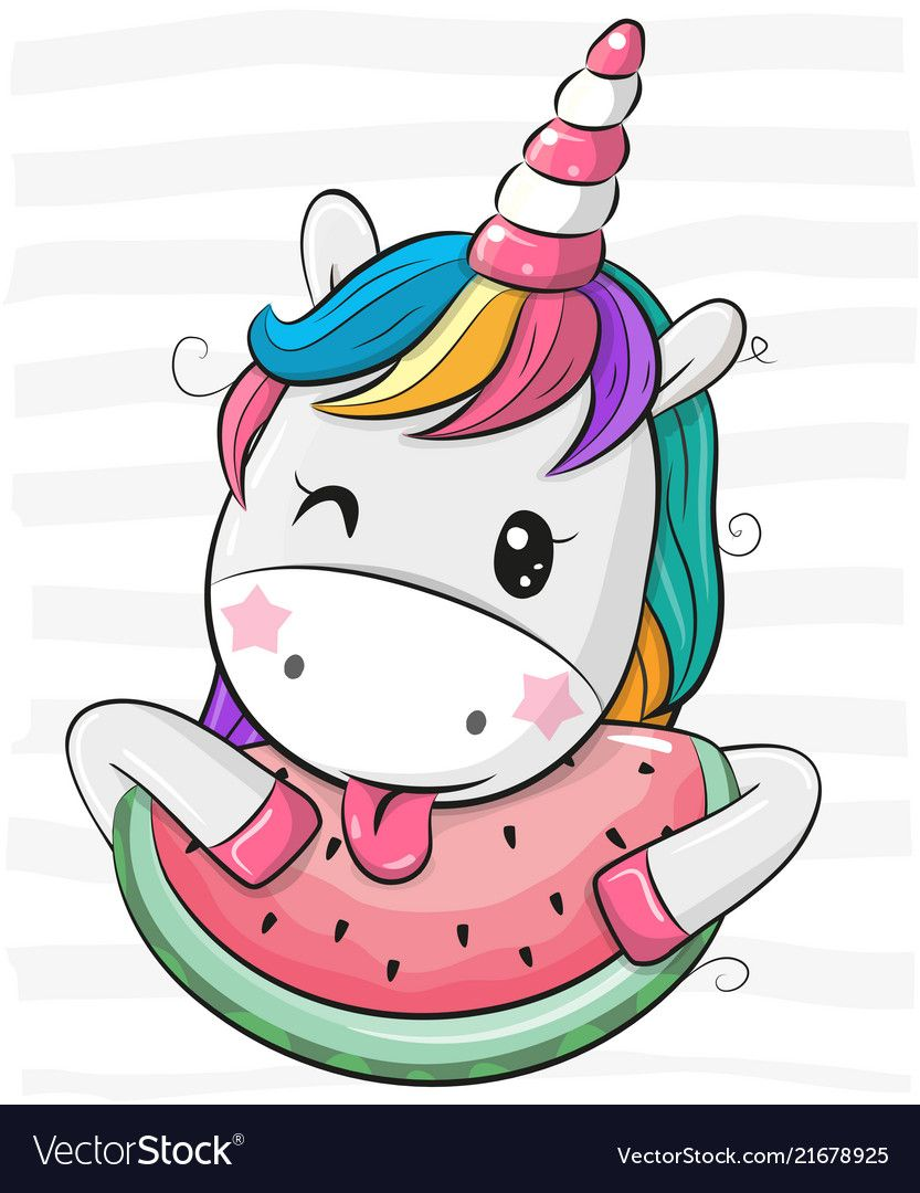 Cute Cartoon Unicorn With Watermelon Vector Image On V Roku 2019