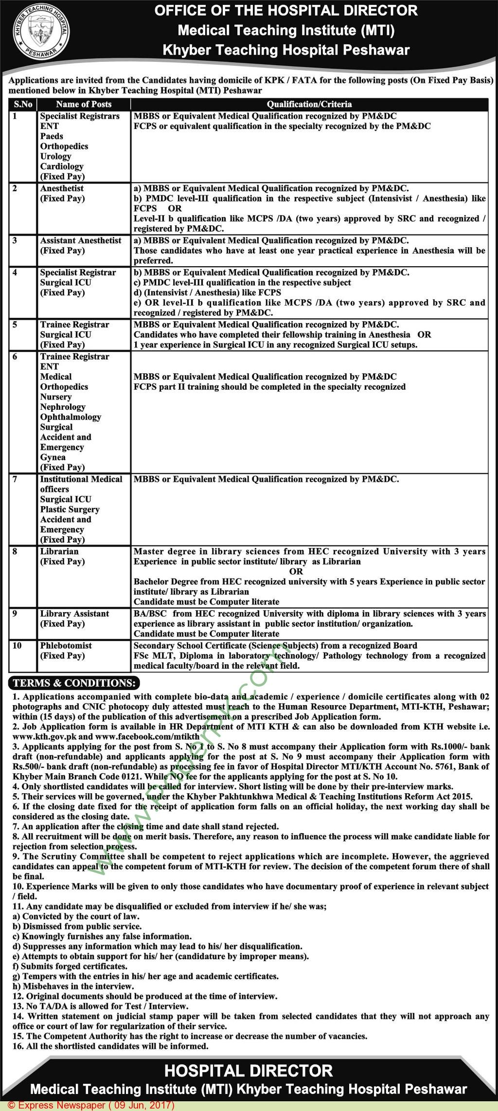Medical Teaching Institute Khyber Teaching Hospital Peshawar Jobs