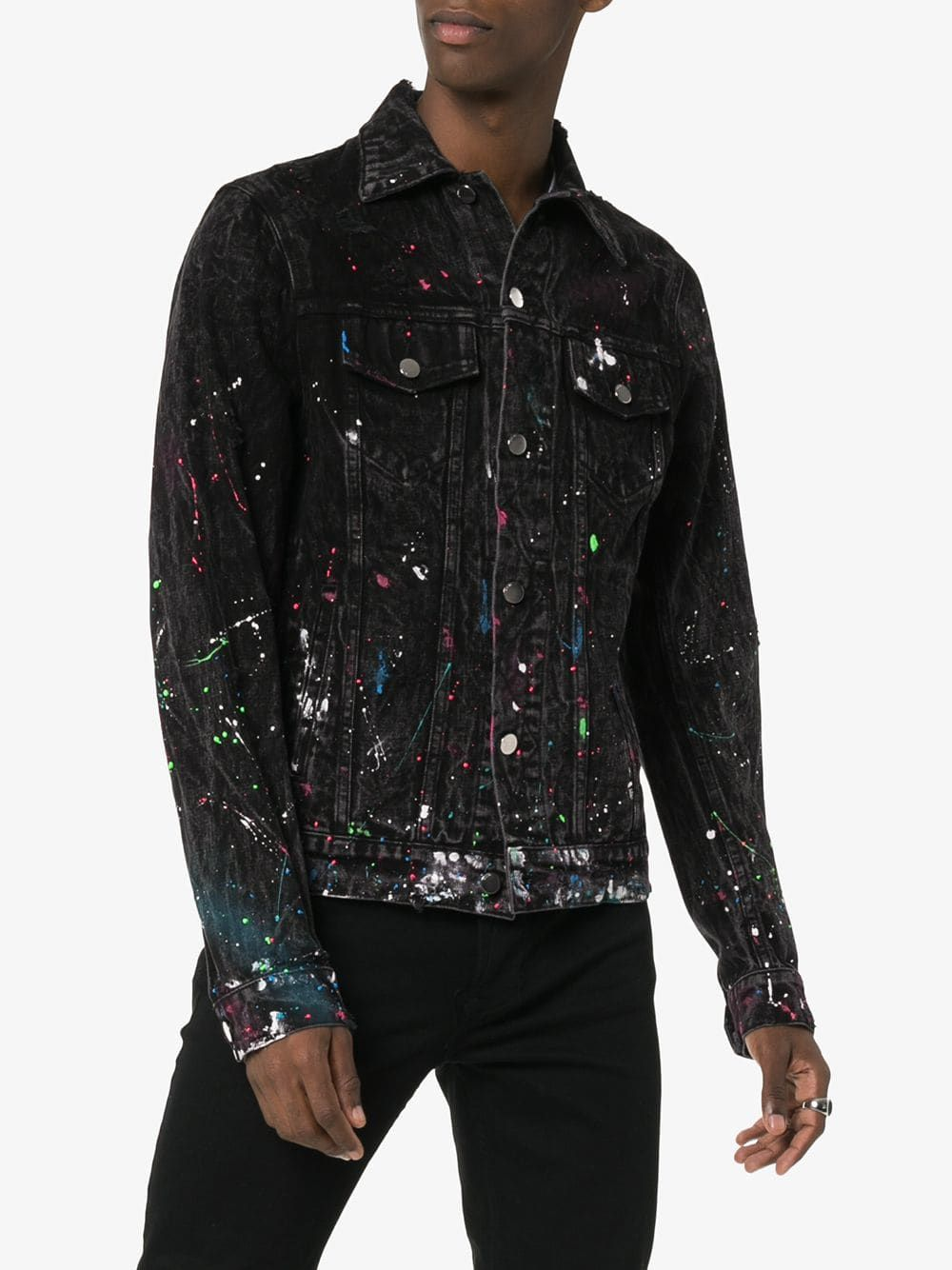Amiri Paint Splatter Print Denim Jacket   Printed denim