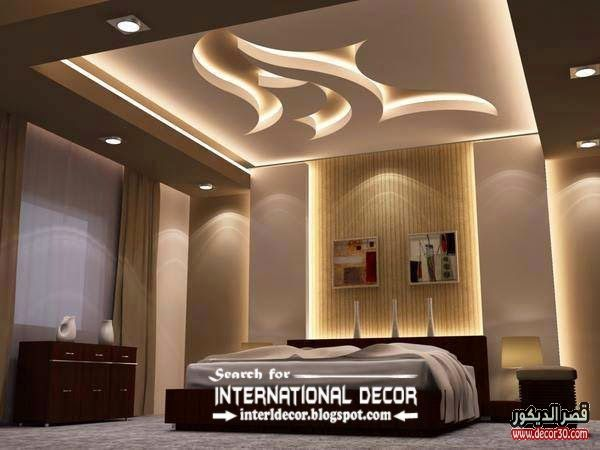 اشكال اسقف جبس بورد غرف وصالات وريسبشن متنوعة قصر الديكور Bedroom Ceiling Light Bedroom False Ceiling Design Ceiling Design Bedroom