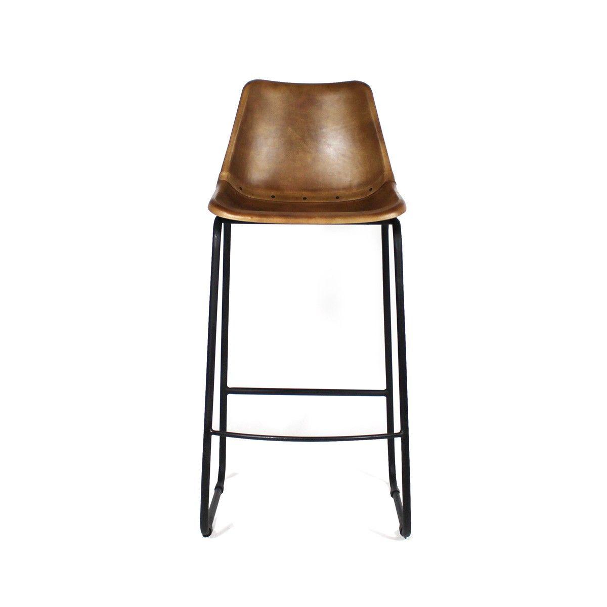 Chaise De Bar Industrielle Cuir Et Metal Dublin Marron Chaise De Bar Industriel Chaise Bar Bars Industriels