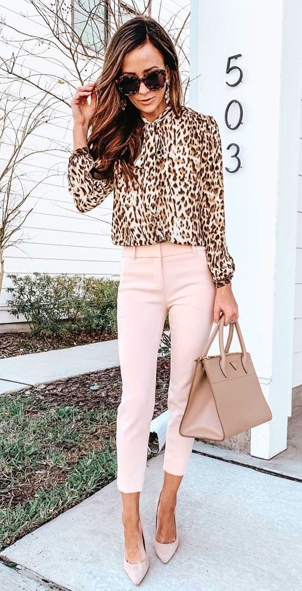17b461c1 #spring #outfits brown and white leopard print long-sleeved blouse
