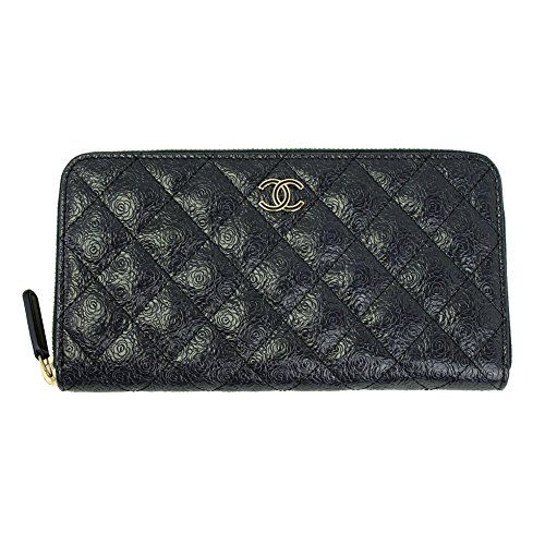 4fc7dcdec1e0c2 SALE PRICE - $1880 - Chanel Matrasse Black Leather With Camellia Long Wallet  A70307 Zip Around