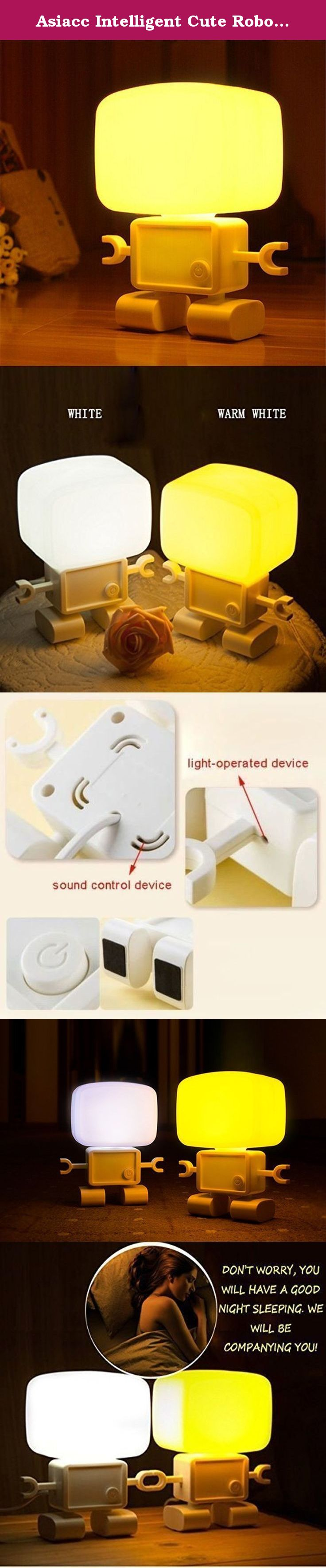 Asiacc Intelligent Cute Robot Night Table LED Sound Voice