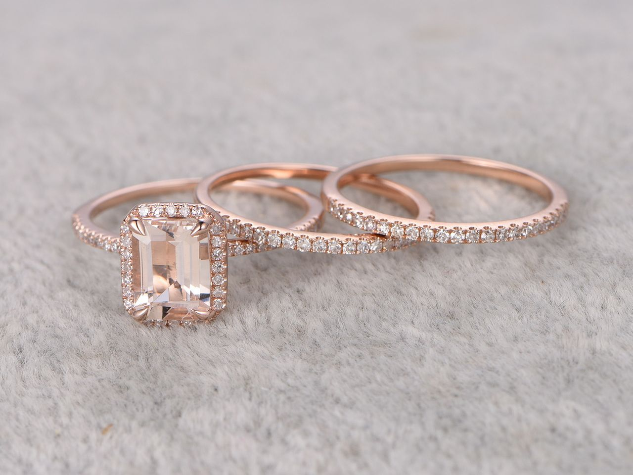 12 carat emerald cut morganite wedding set diamond bridal ring 14k rose gold thin eternity band - Morganite Wedding Ring