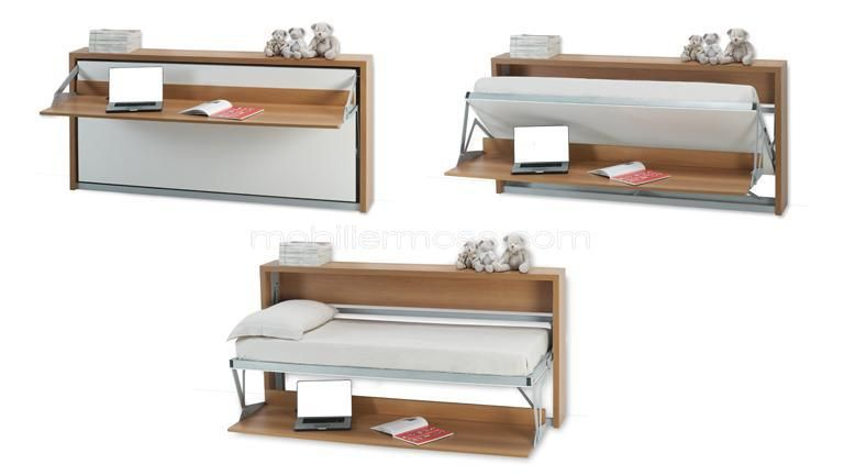 Lit bureau escamotable pliable modulable mobilier moss for Lit bureau escamotable