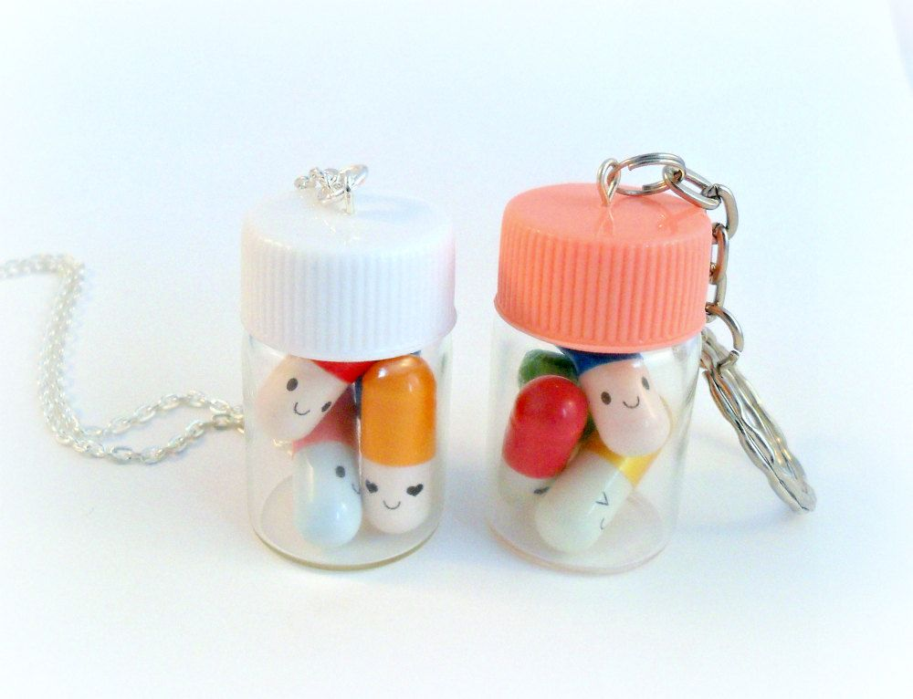 Happy pills bottle necklace or keychain message in a for Pill bottle jewelry