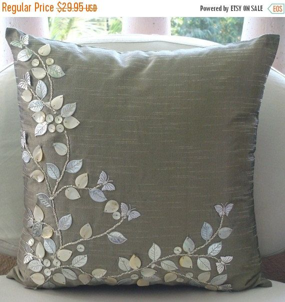 Luxury Decorative Silver Pillow Covers 16 X16 Silk Pillows Covers For Couch Square Leather And Pearl Leaves Pillows Cover Silver Beauty Silk Pillow Cover Silver Pillows Decorative Pillow Cases
