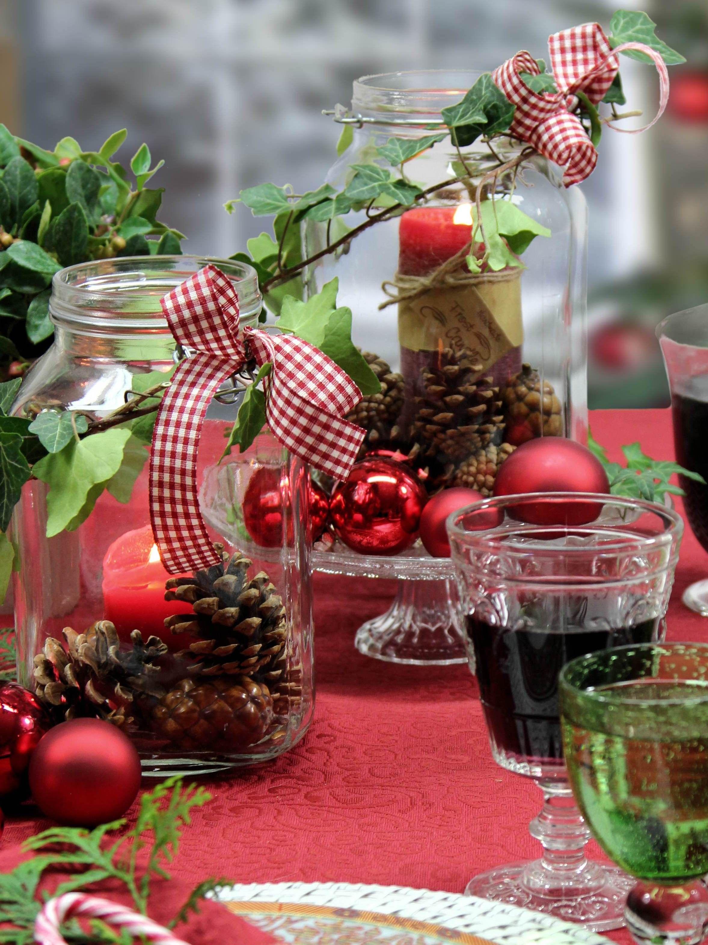 weckgl ser als weihnachtliche windlichter tischdecke. Black Bedroom Furniture Sets. Home Design Ideas