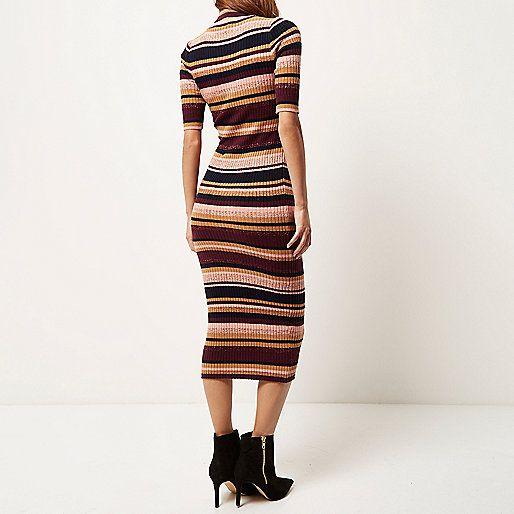 Purple knitted stripe metallic dress - knitted dresses - dresses - women