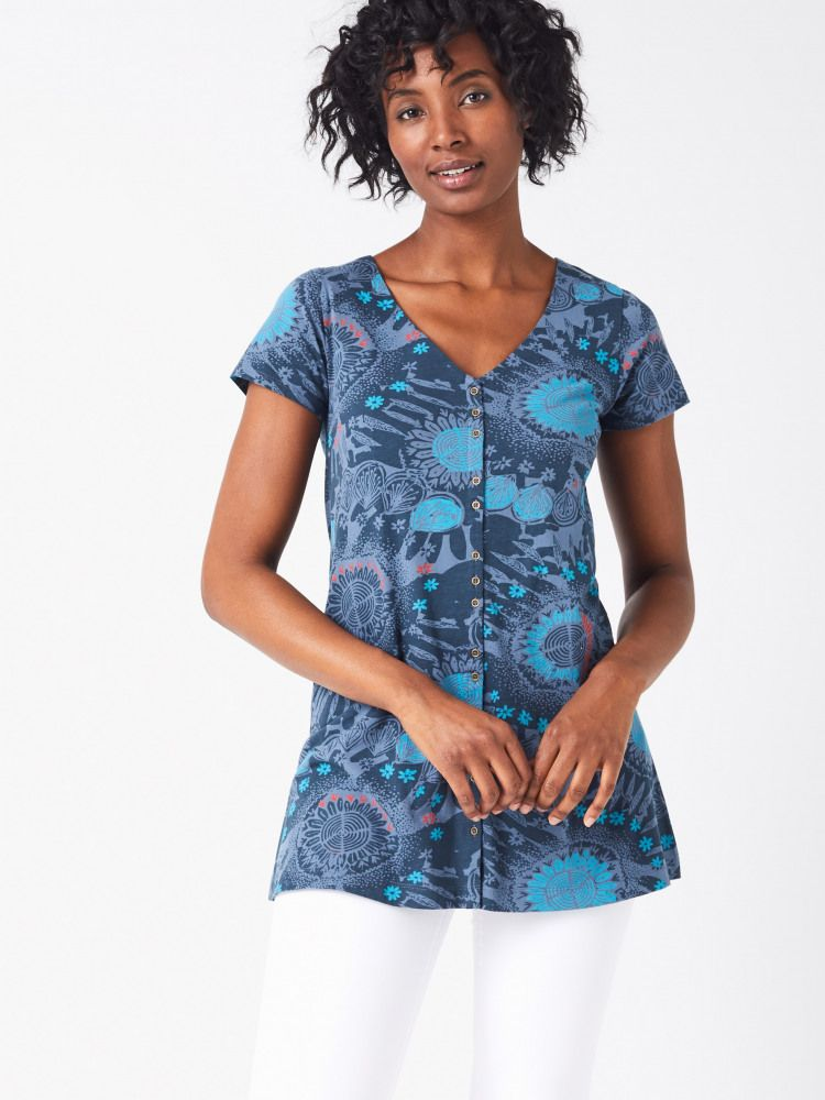 Archive Button Through Tunic (Orleans Blue Print) | White