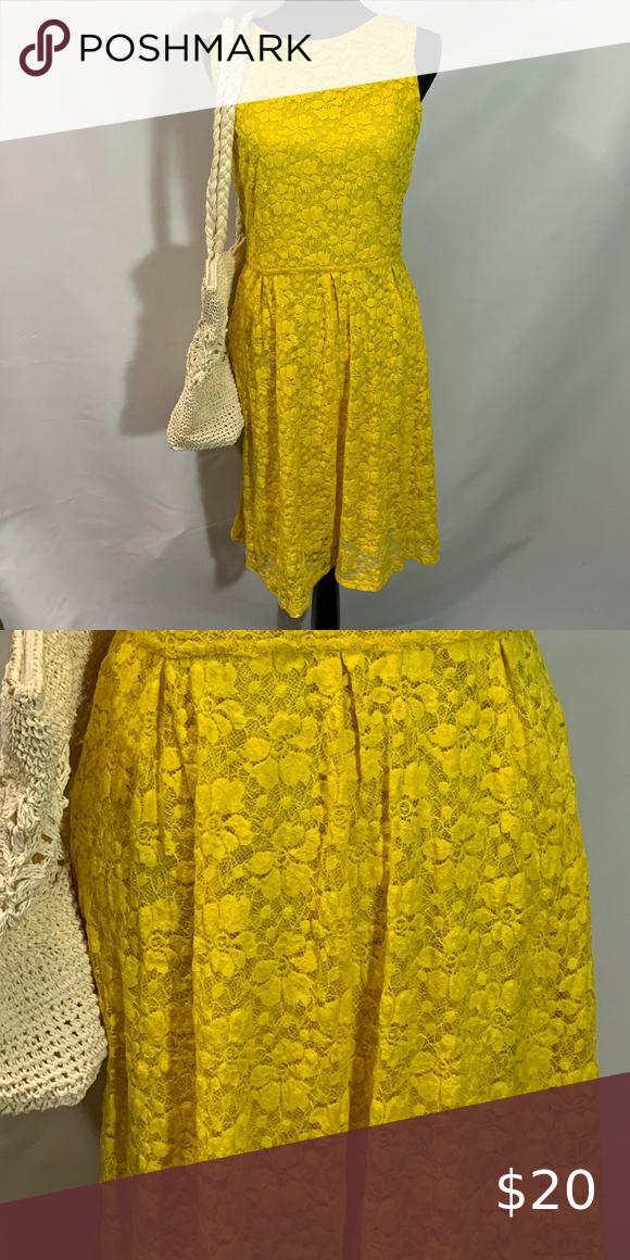Merona Yellow Lace Dress Size Medium