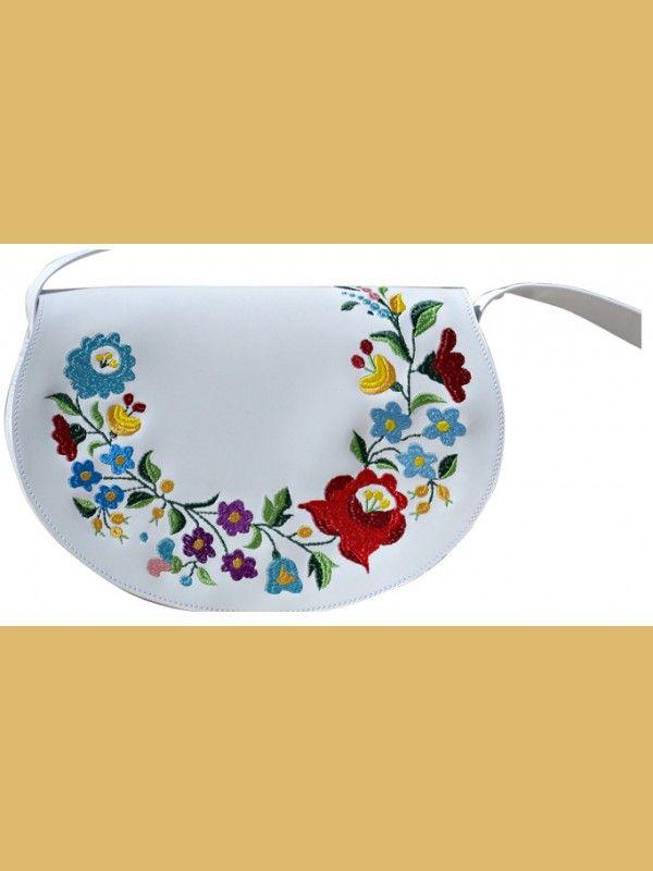 a2a52b9ccdc2 Hímzett bőr táska - kalocsai, fehér | Photos to look | Sunglasses ...