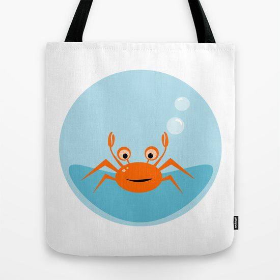 Little crab under the sea tote bag on society6 by Limitation Free