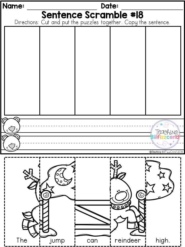 free kindergarten sentence building winter edition sentence structure activities. Black Bedroom Furniture Sets. Home Design Ideas