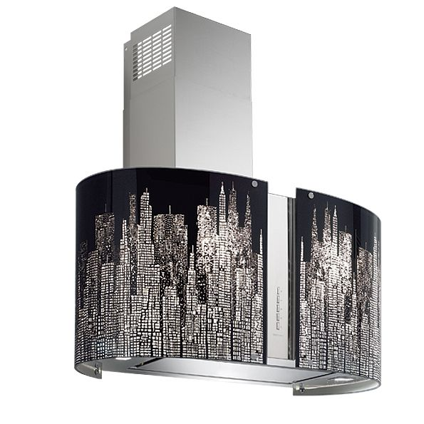 """Mirabilia Manhattan"". Kitchen hood with decorated glass by Falmec. #kitchen"
