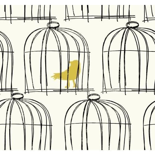 York Wallcoverings Bl0428 Black And White Book Birdcage