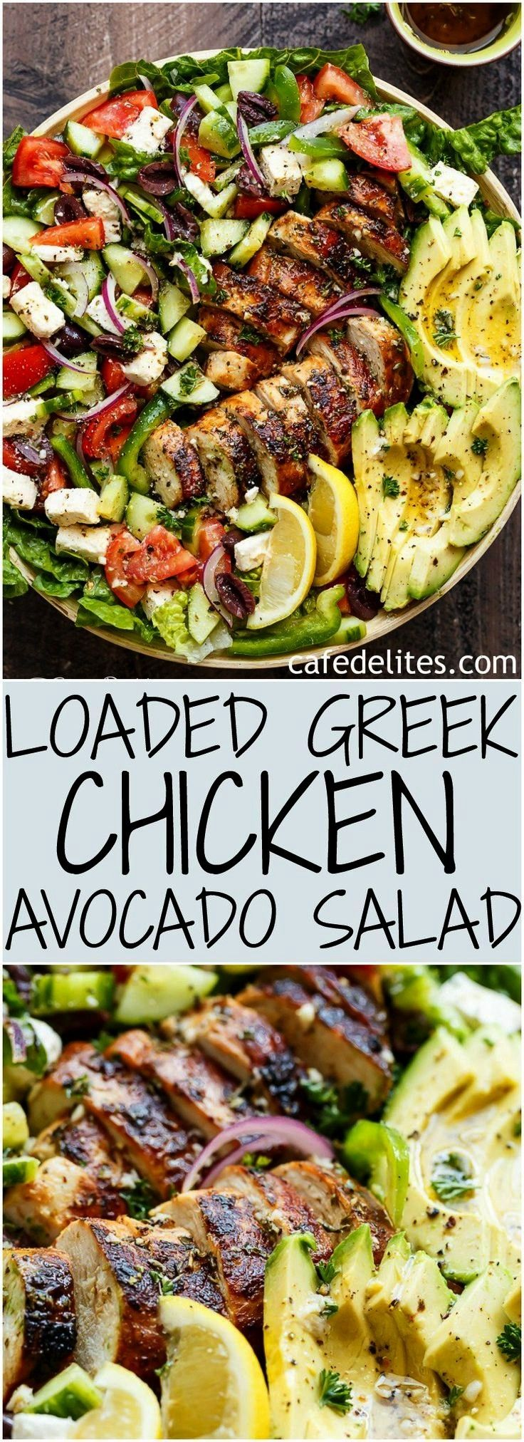 Greek Chicken Avocado Salad is another meal in a salad! Full of Greek fla... -Loaded Greek Chicken