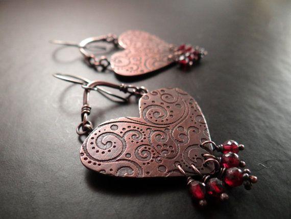 Swirl Pattern Hearts with Garnet Dangles  by LostSparrowJewelry