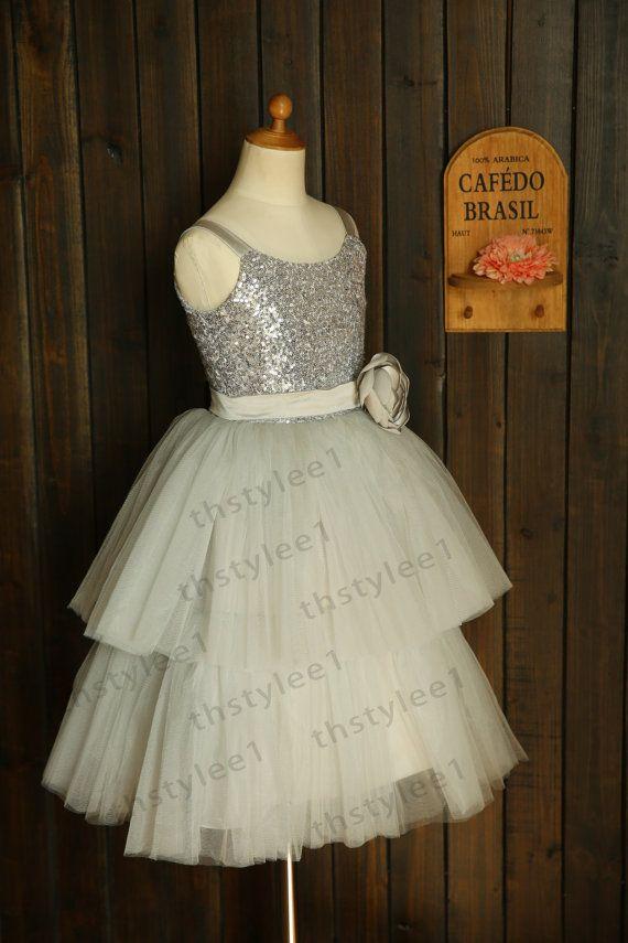 Argent paillettes gris Tulle TUTU Cupcake robe fille par thstylee1, $56.99