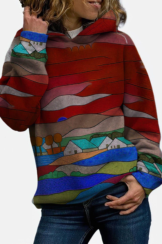 Landscape Printed Long Sleeve Casual Hoodie For Women In 2021 Hoodies Womens Sweatshirts Women Casual Hoodie [ 1500 x 1000 Pixel ]