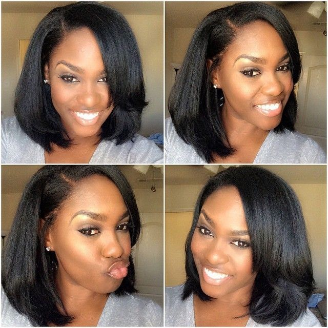 Love this cut hairstyle for dark skin 3bundlesclosure straight human hair glueless full lace bob wigs short bob lace front wig density with babyhair around for black women pmusecretfo Images