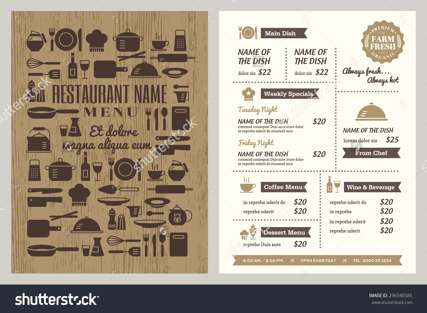 Restaurant Menu Design Template With Silhouette Kitchen Utensils