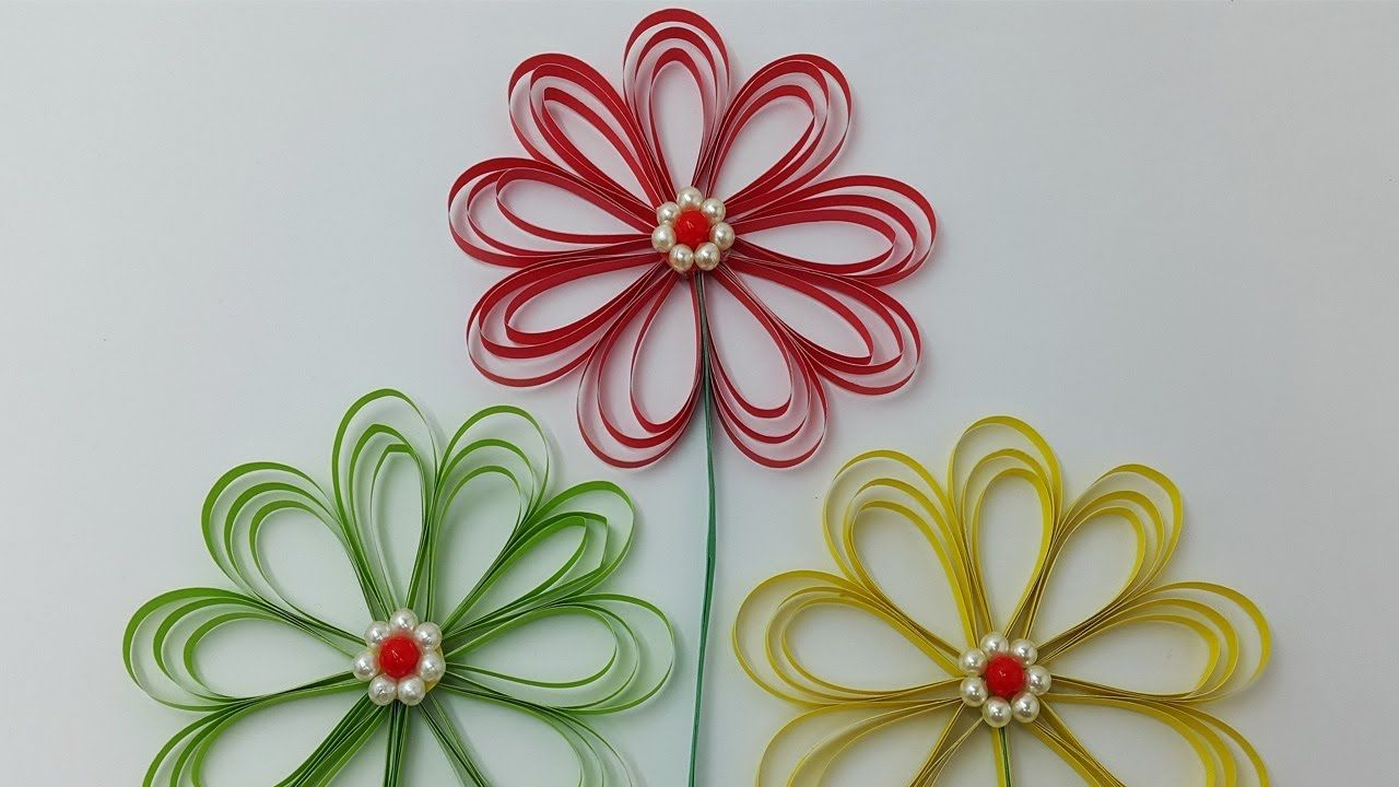 Paper Flowers How To Make Beautiful Flower With Color Paper Diy