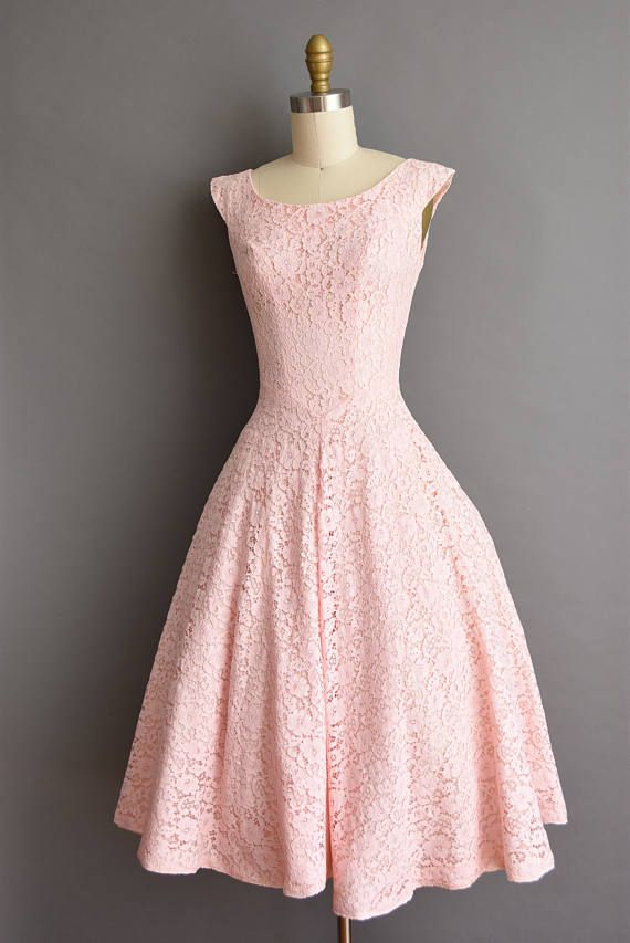 50s vintage dress. 50s pink cotton candy lace full skirt vintage ...