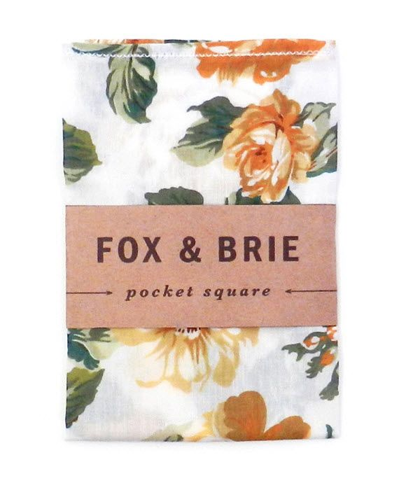 Yellow Rose Pocket Square from Fox and Brie
