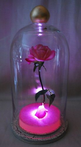 Illuminated Pink Enchanted Floating Rose Fairy Tale Prop Beauty