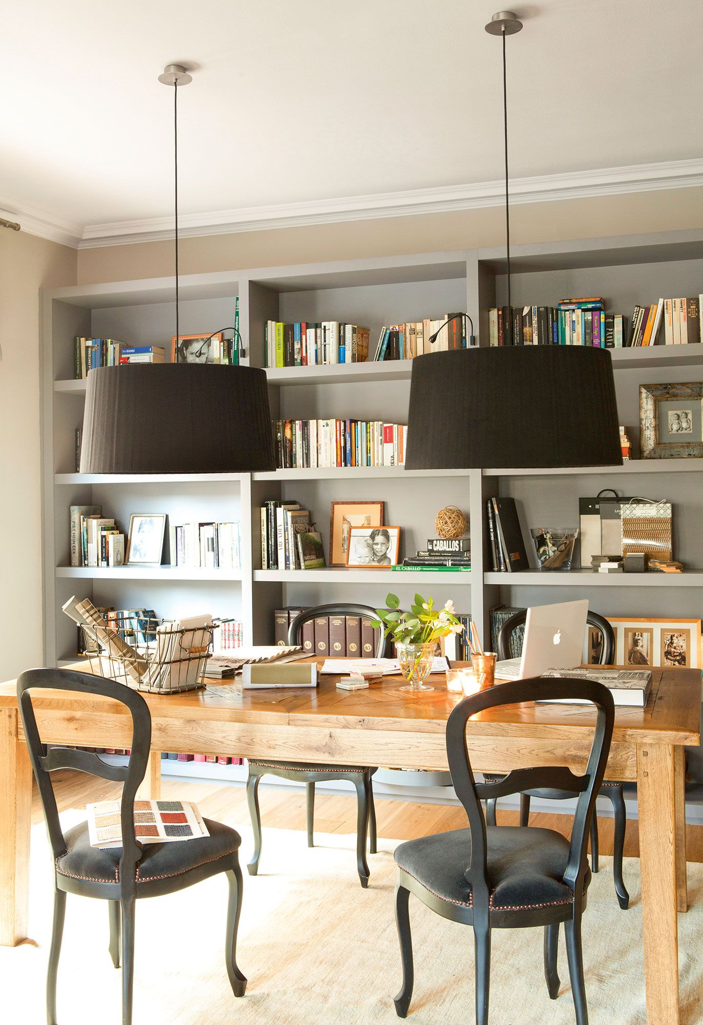 Librer A A Medida De Color Gris En El Comedor Living Room  # Muebles Gacela Rio Cuarto