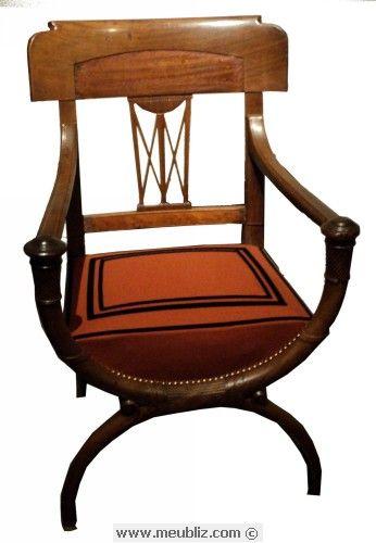 fauteuil curule directoire style directoire pinterest fauteuils meubles anciens et mobilier. Black Bedroom Furniture Sets. Home Design Ideas
