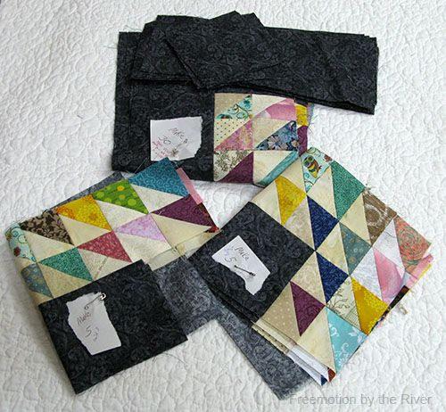 Freemotion by the River: Barbed Wire quilt, organizing parts to work on later