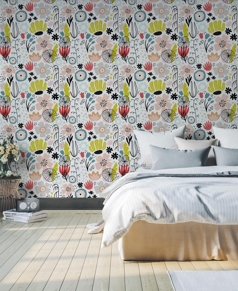 Floral Peel And Stick Wallpaper Floral Removable Wallpaper Etsy Girls Bedroom Wallpaper Removable Wallpaper Floral Bedroom