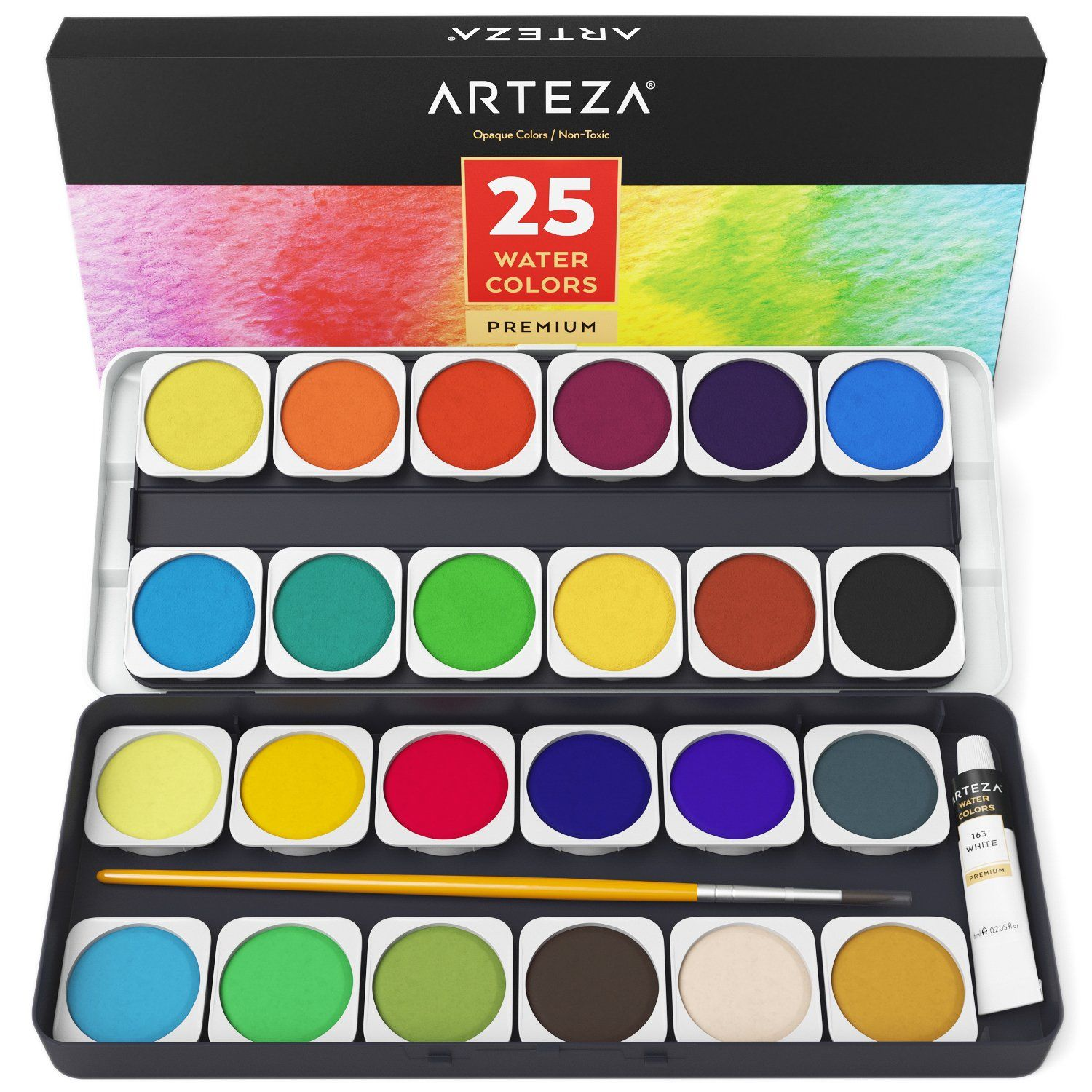 Watercolor Premium Artist Paint Opaque Colors In Pans Set Of 25