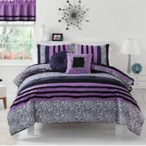 Kelseys Dream Purple Leopard Bedding By Seventeen Is The Perfect Teenage  Girl Bedding With Lively Black