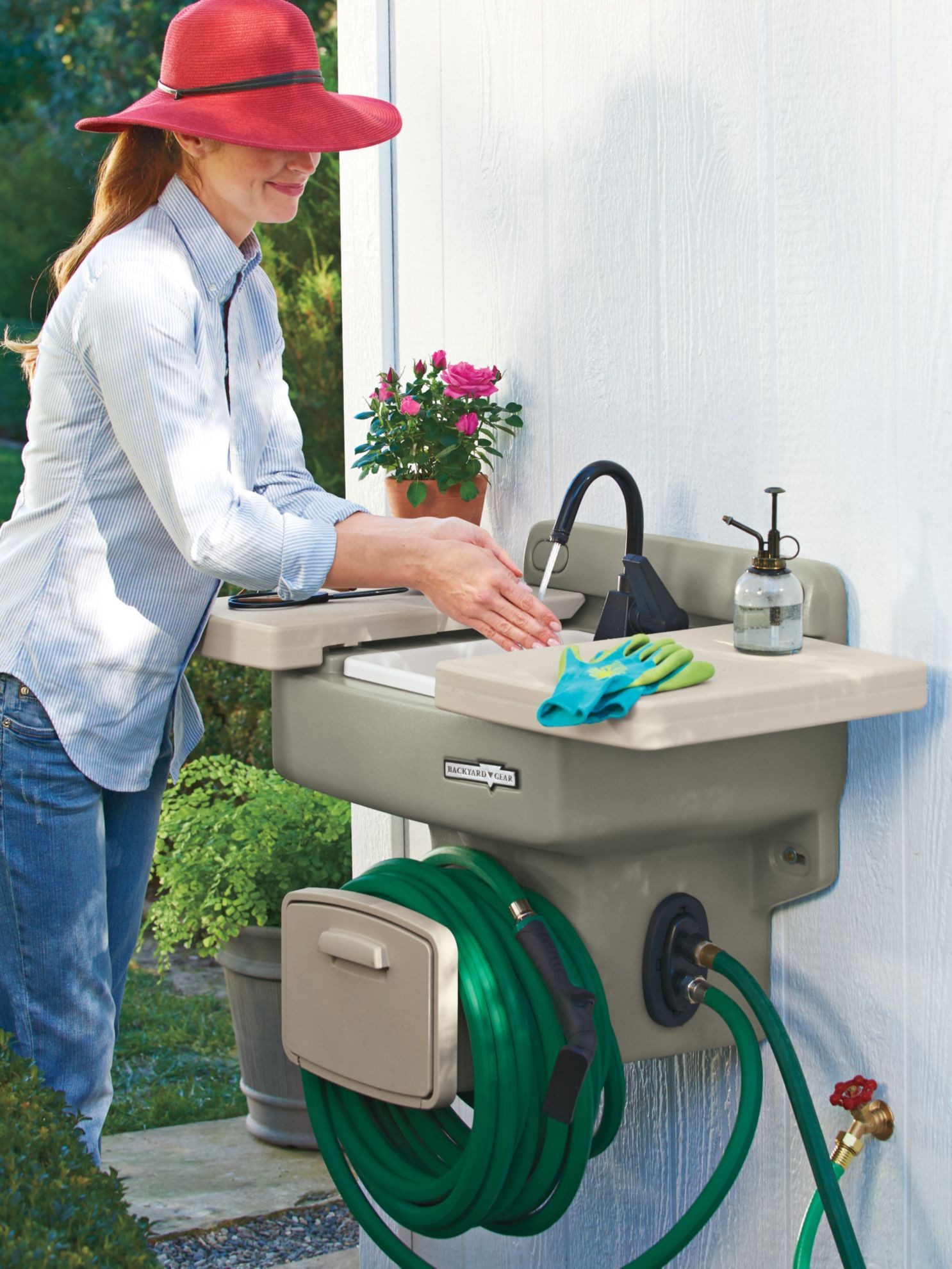 Set Up An Outdoor Workspace And Potting Bench Without A Plumber With Our Outdoor Sink Use For Cleanup When Gardening O Outdoor Sinks Garden Sink Potting Bench