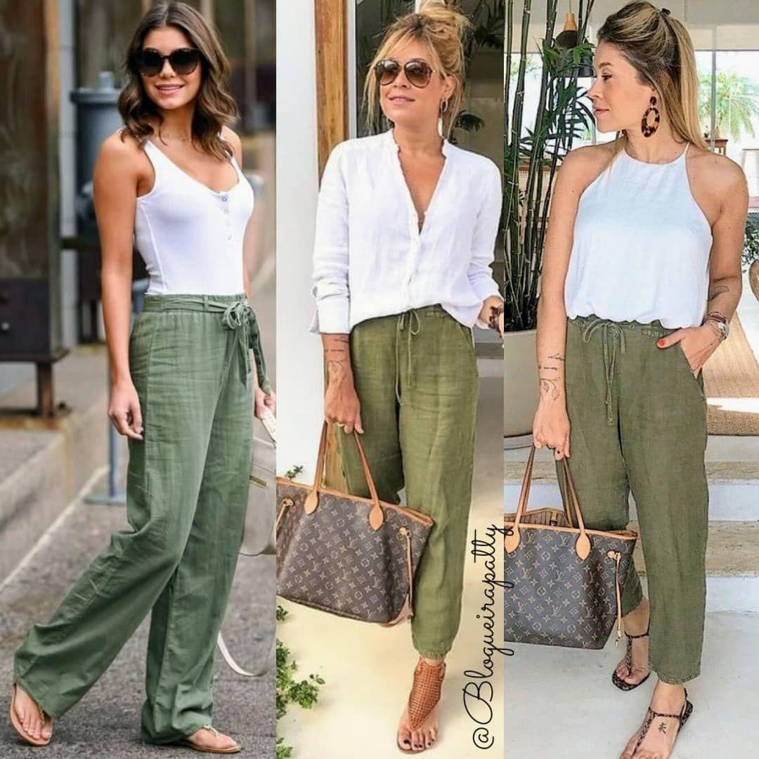 """Photo of Patrícia (Blog de Moda) ? on Instagram: """"✔️ Domingão tranquilo merece um look  confortável com calça verde OLIVA no linho. ✔️ Os Looks são Inspirações! ✔️ Tem dica de SEMIJóIA.…"""""""