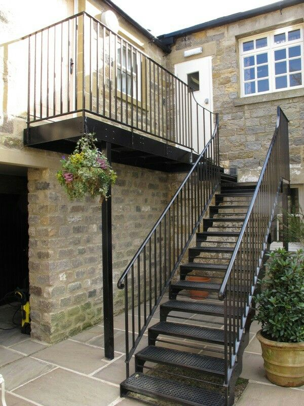 Pin By Mark Ching On Garden External Staircase Wrought Iron | Wrought Iron Stairs Outdoor | Early 19Th Century | Iron Handrail | Mild Steel | Porch | Steel